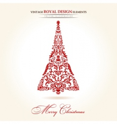 vintage Christmas tree red vector image vector image
