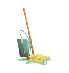 bucket and floor cleaning broom or mop cartoon vector image vector image