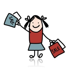 Cute girl with shoppibg bags cartoon for your vector image vector image