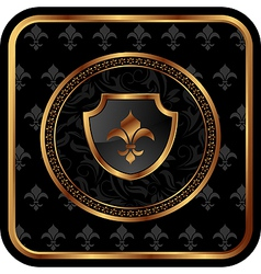 golden frame with shield - vector image