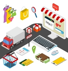 Mobile shopping isometric concept with related vector image