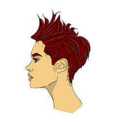 a woman with dark red hair in profile the hair is vector image vector image
