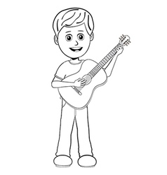 boy playing guitar outline vector image