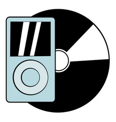 Mp3 player vinyl record icon cartoon vector