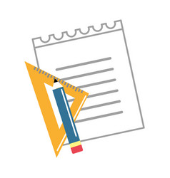 Peper notebook with study tools vector