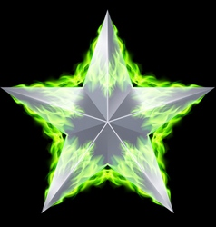Silver star aflame vector image vector image