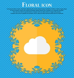 cloud Floral flat design on a blue abstract vector image