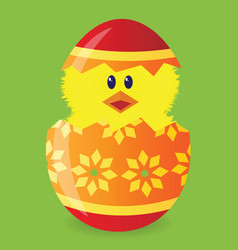 easter egg with chick vector image vector image