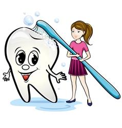 girl brushing teeth vector image vector image