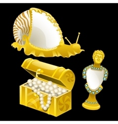 Golden figurines of shells snails and bust vector image