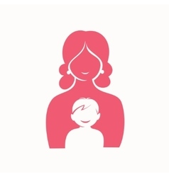 mother and son stylized silhouette vector image