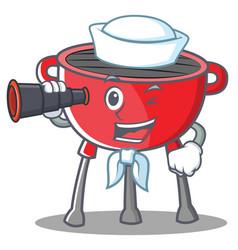 Sailor barbecue grill cartoon character vector
