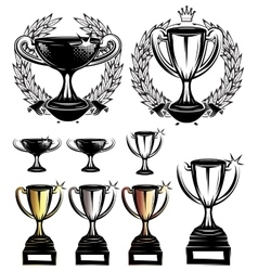 set sport templates with sports cups and vector image vector image