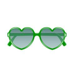 sun glasses in shape of heart in green design vector image vector image