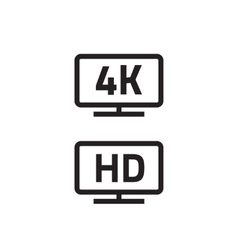 Ultra hdtv 4k full hd television icons line vector