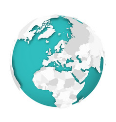3d earth globe with blank political map dropping vector image