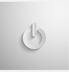 3d paper power icon with long shadow vector