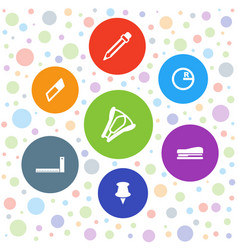 7 stationery icons vector image