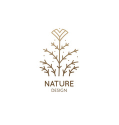 Abstract tropic plant minimal logo exotic flower vector