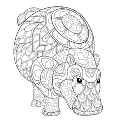 adult coloring bookpage a cute hippopotamus image vector image
