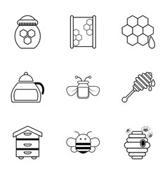 apiculture equipment icons set outline style vector image