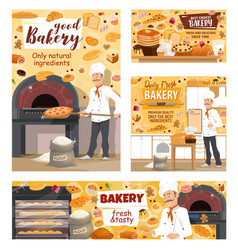 Bakery shop bread pizza and baker pastry cakes vector