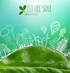 Banner with green leaves and doodles vector image