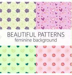 Beautiful girly seamless abstract pattern set vector