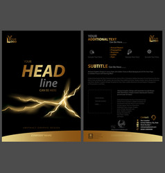 Black flyer template with golden strip and fissure vector