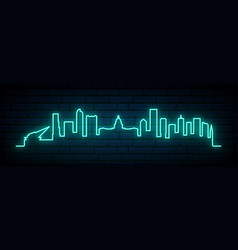 blue neon skyline denver city bright denver vector image
