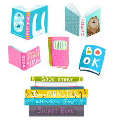 Books collection clipart for design vector