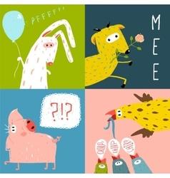 Bright cartoon farm animals square greeting cards vector