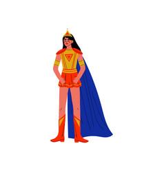 Brunette young woman in superhero costume vector