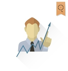 Business Graph with Hand Pointing Up vector image
