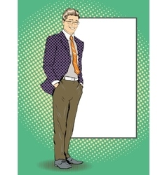 Businessman stays next to blank white board Pop vector image