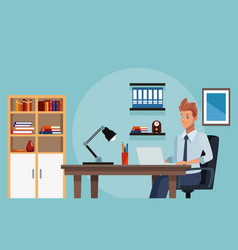 Businessman working with laptop from office vector