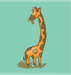 camelopard cartoon savannah animal giraffe hand dr vector image