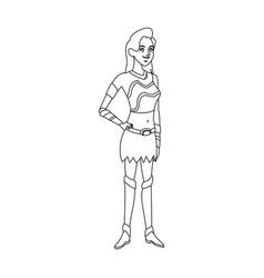 cartoon female warrior with a spear vector image