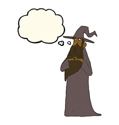 Cartoon wizard with thought bubble vector