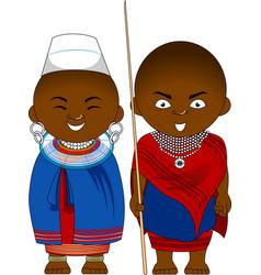 Cheerful african couple from tanzania masai vector