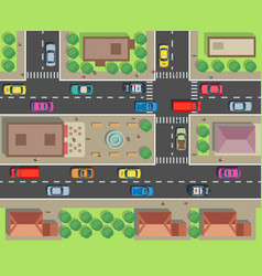 City top view building and street with cars and vector