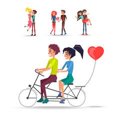 concept couples in love ride bicycle on white vector image