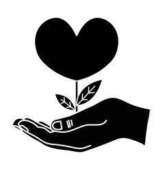 Contour hand with beauty heart plant with leaves vector