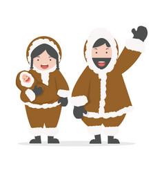 Couple eskimo with bafamily vector