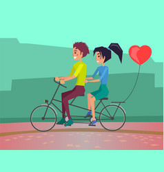 couple on date riding bicycle and balloon romance vector image