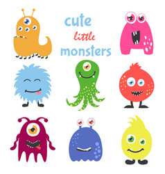cute cartoon monsters set collection for any vector image