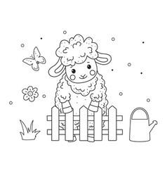 cute outline doodle sheep sleeps hand drawn vector image