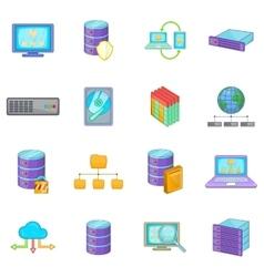 Data base icons set cartoon style vector