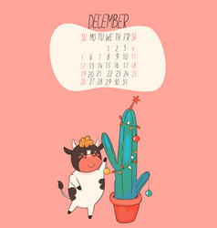 december 2021 calendar cute bull decorates vector image
