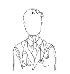 Doctor drawn by a single line vector